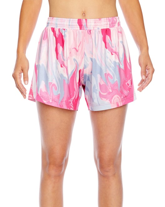Picture of Team 365 TT42W Womens Tournament Sublimated Pink Swirl Short
