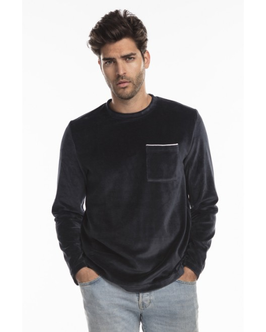 Picture of US Blanks US5594 Unisex Velour Long Sleeve Pocket T-Shirt